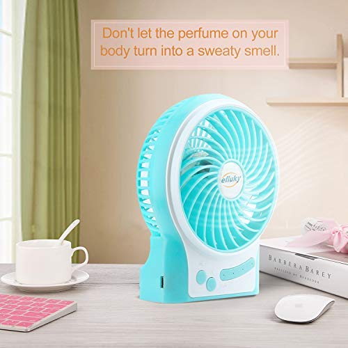 efluky 3 Speeds Mini Desk Fan, Rechargeable Battery Operated Fan with LED Light and 2200mAh Battery, Portable USB Fan Quiet for Home, Office, Travel, Camping, Outdoor, Indoor Fan, 4.9-Inch, Black