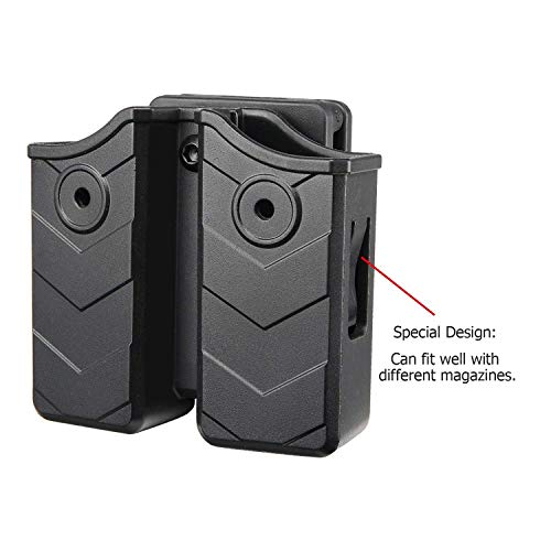 efluky Universal Magazine Pouch, Double Stack Magazine Holster for Glock H&K S&W Ruger Sig Springfield Taurus Beretta CZ Walther Pistol and More