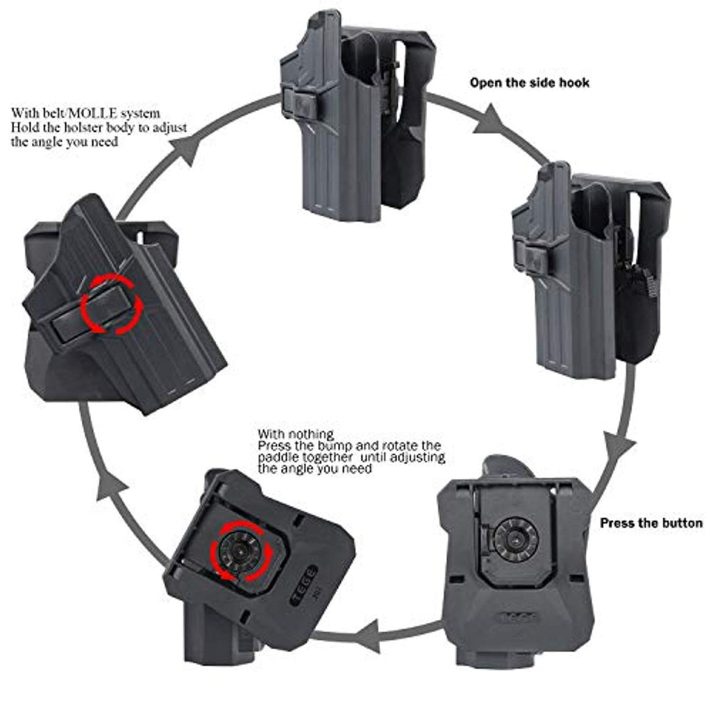 efluky CZ 75 SP-01 Shadow Paddle Holster, Tactical Outside Waistband Holster with 360°Adjustable Cant, OWB Carry, RH