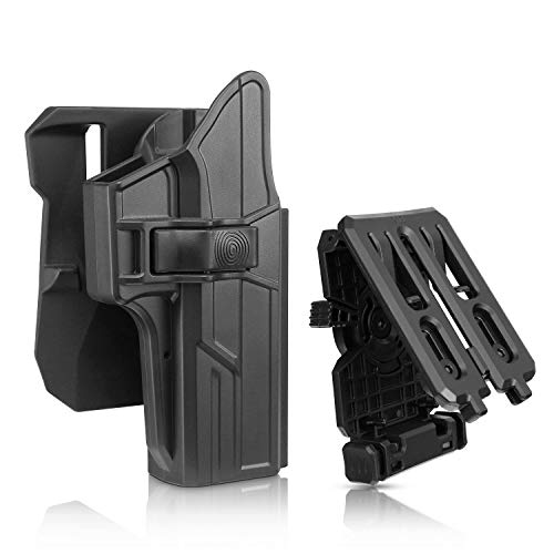 efluky Glock 17 Holster Fits G22 G31 (Gen 1-5) Holster with Two Options, 360°Auto-Adjusting OWB Holster, Tactical Pistol Holster with Trigger Release, RH