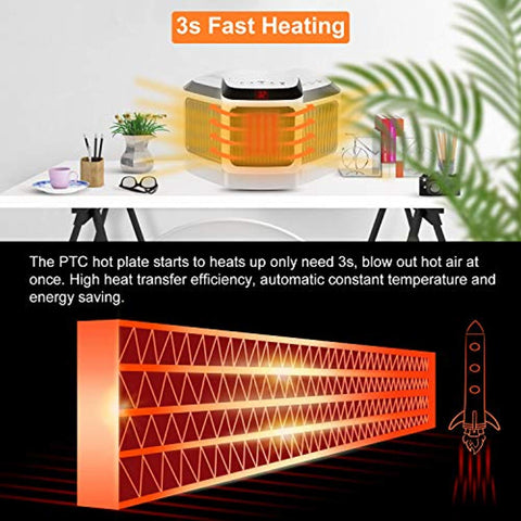 Space Heater, Quiet Electric Portable Desk Heater Cooling Fan with Adjustable Thermostat, Overheat & Tip-over Protection for Office Home Indoor Use