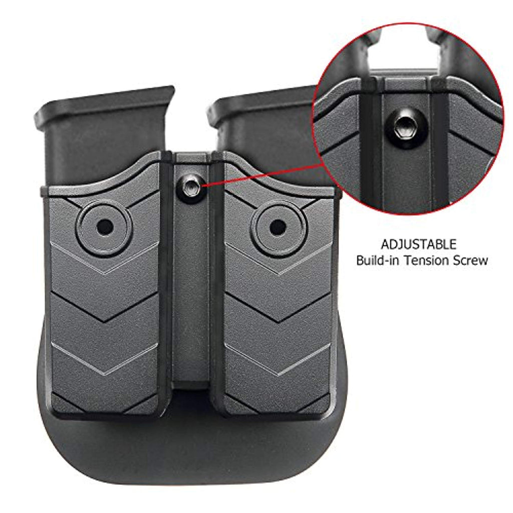 efluky Double Magazine Pouch + Glock 19 IWB Belt Holster, Polymer Concealable Carry Holster for Glock 17 19 22 23 26 27 31 32 33 34 (Gen1-4), Mag Pouch for 9mm .40 Caliber, RH