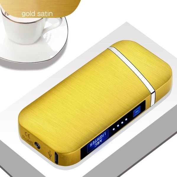 J5205 USB Electric Lighter Finger print Touch Fire Plasma Double Arc Lighter Windproof Metal Cigarette Lighters Men Gift Drop shipping