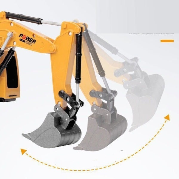 2.4Ghz 5/6 Channel Remote Control Excavator Toy, 1:24 Alloy RC Excavator Tractor Toy With Rechargeable Battery For Kids & Adults