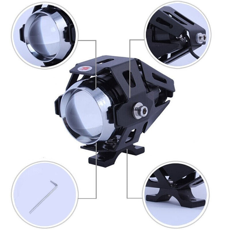 125W Waterproof Motorcycle Headlight U5 3000LM Upper Low Beam LED Motorbike Spot Lamp Double Aperture Devil Eye 12V Universal LED Car DRL Motorcycles Driving Headlights Fog Lights
