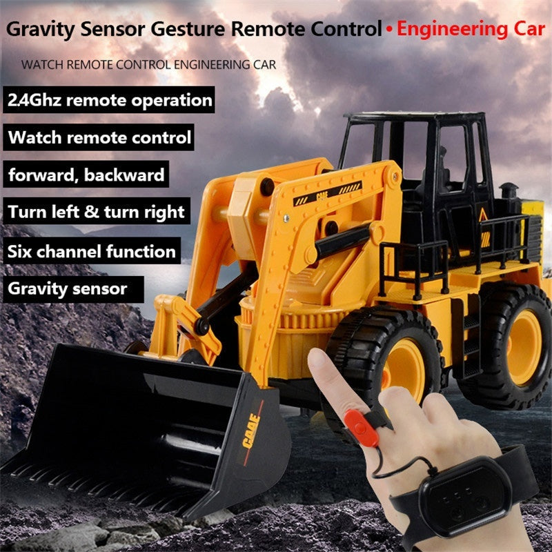2020 New! 2.4Ghz 6CH Gravity Sensor Gesture Control Bulldozer Toy, 1:24 Alloy Bulldozer Truck Engineering Vehicle Toy with Sound For Kids & Adults
