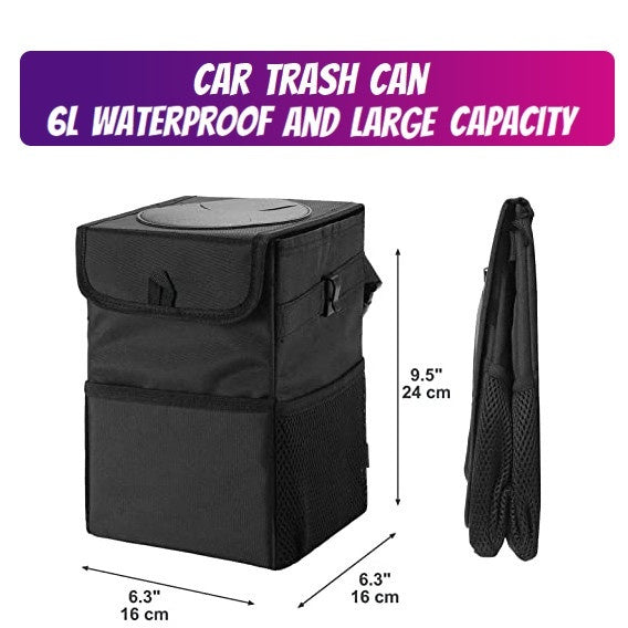 High@ Car Waterproof Foldable Garbage Peel Car Seat Back Storage Box Trash Can With Lid  Large Capacity