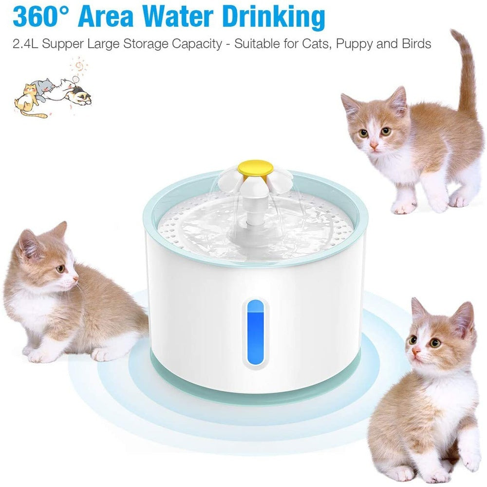 2020 New 2.4L LED Automatic Cat Dog USB Electric Water Fountain Multi-functional Pet Drinking Dispenser
