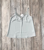 Adjustable Strap Eyelash Trim Solid Cami Top