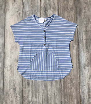 V Neck Short Sleeve Front Pocket Stripe Printed Top