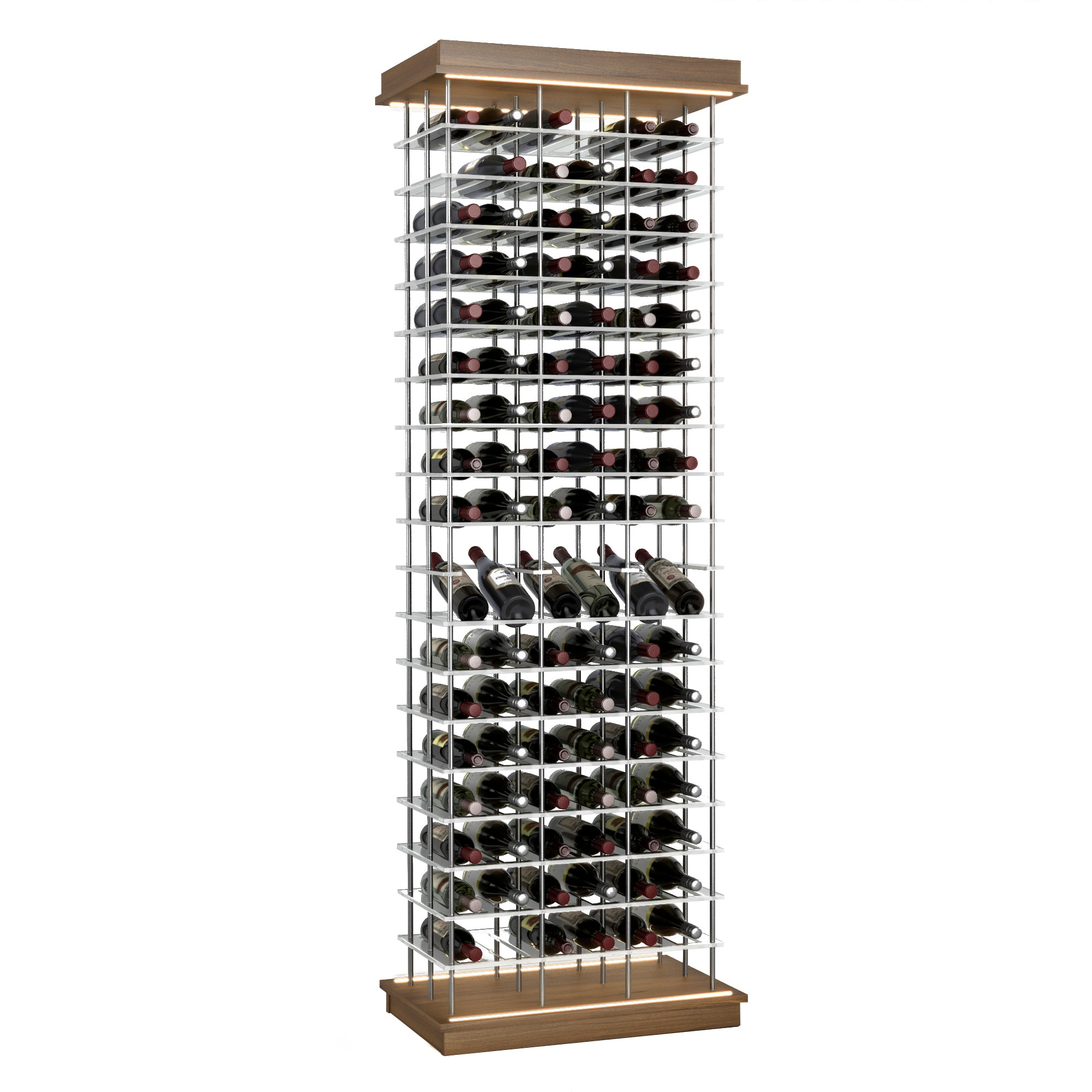 102-Bottle Elevation Wine Rack with Angled Display, Cork Forward, Modern Wine Storage, Kessick