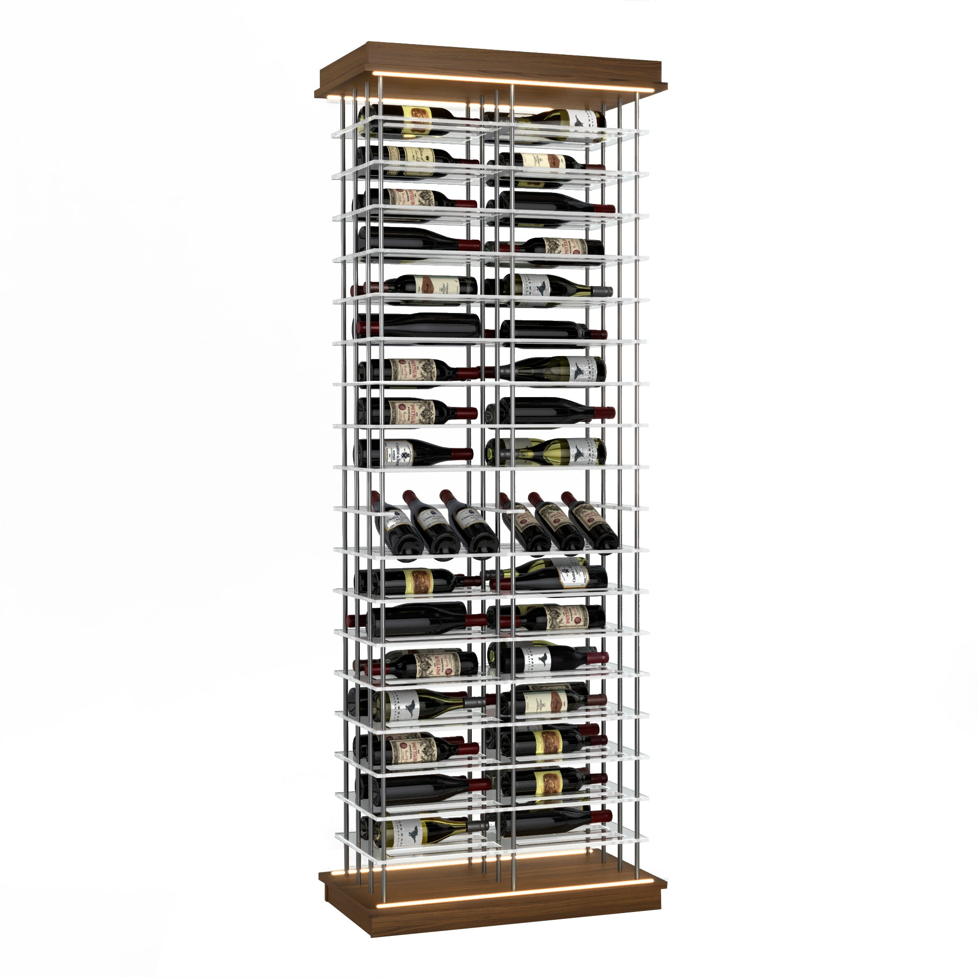 102-Bottle Elevation Wine Rack with Angled Display, Label Forward, Modern Wine Storage, Kessick