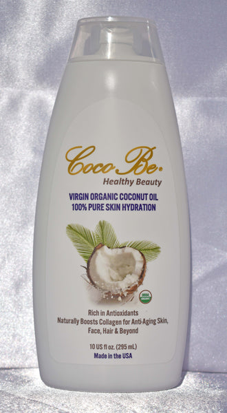 CocoBe Organic Body, Hand & Skin Hydration. Made with 100% USDA Certified Virgin Unrefined Raw Coconut Oil which has Antimicrobial Properties that can help protect against harmful microorganisms.  10 US Fl oz (295 ml)- Free Shipping in the US