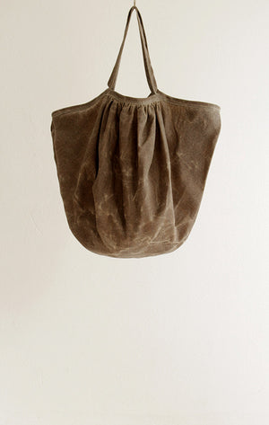 BAG IN BEESWAXED LINEN WITH LONG HANDLES