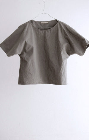 TOP#04_GREY SHIRT IN FINE COTTON TWILL