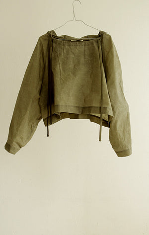 Top#11_BOY_OVERSIZED HOODIE IN WAXED COTTON POPELINE / KHAKI