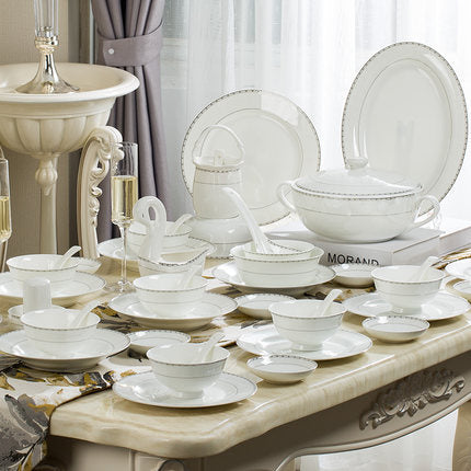2019 Fashion Bone China Tableware Set Dinnerware Ceramics Home American Bowl Dishes Tableware Combination Western Dinnerware Set