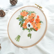 Load image into Gallery viewer, Flower Bouquet DIY Embroidery Kit Needlework Cross Stitch with Hoop Frame for Beginner Swing Art Painting Handcraft Wedding Gift