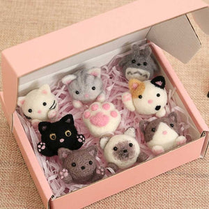 9 pcs One pack DIY handmade cat animal wool needle