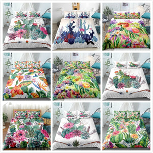 Cactus Bedding set Green plant Duvet cover set Flower Bed
