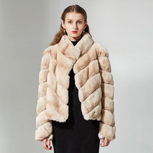 Load image into Gallery viewer, rex rabbit natural fur coat  women stand collar striped winter  high-quality real rabbit coat fur  jacket overcoat short