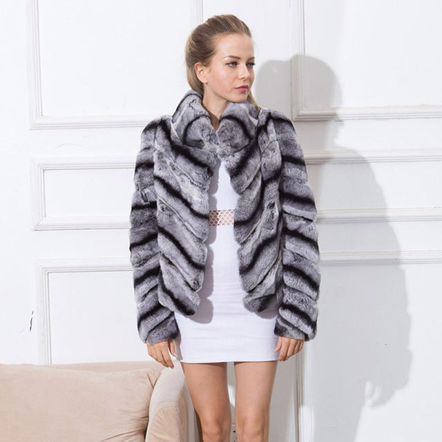 rex rabbit natural fur coat  women stand collar striped winter  high-quality real rabbit coat fur  jacket overcoat short