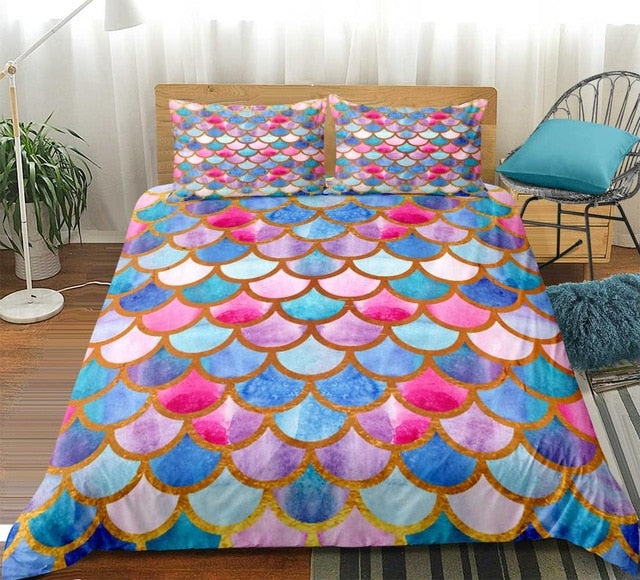 Bedding Set Colorful Fish scale Quilt Cover for Kid girls pink Bed