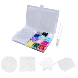 6500Pcs 12 Colors Craft Fuse Beads Kit 3Pcs Pegboards