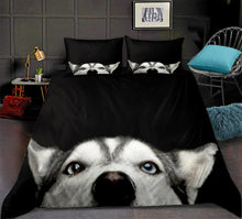 Load image into Gallery viewer, Dog Bedding set black Duvet cover set for kids Cartoon animal