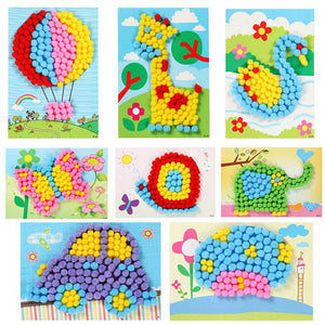 Cartoon DIY Handmade Pompon Ball Painting Children Handcrafts Kindergarten Early Learning Toys Gift Birthday Party Favors