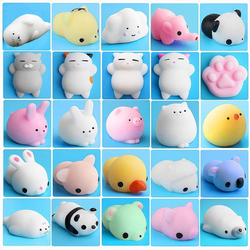 25PCS Set Cute Mochi Squishy Cat Squeeze Healing