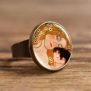 Fashion The Kiss Klimt Starry Night Dome Glass Art Picture