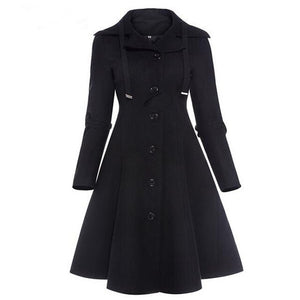 Fashion Long Medieval Trench Coat Women Winter Black Stand
