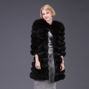 real fox fur coat jacket detachable sleeve bottom transforme