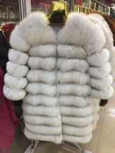 Load image into Gallery viewer, real fox fur coat jacket detachable sleeve bottom transforme
