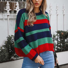 Load image into Gallery viewer, sweaters women Casual Knitwear pullovers striped