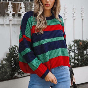 sweaters women Casual Knitwear pullovers striped