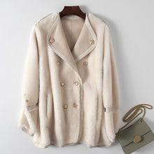 Load image into Gallery viewer, Natural Real Fur Coat Female Vintage Sheep Shearling Genuine