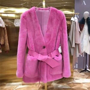 Mink Fur Women Coats 2019 Winter Fashion Natural