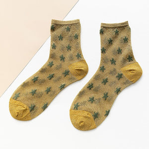 New women's summer thin casual silk socks with