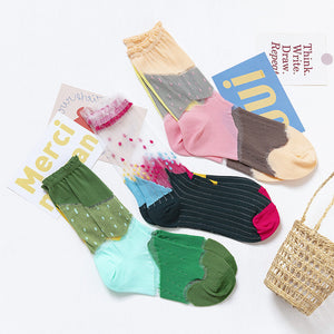 3 Pairs Women Socks Summer Colorful Female