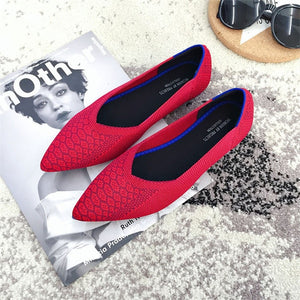 Ballet Shoes Breathable Knit Pointed Shoes Moccasin Mixed Color