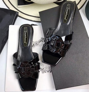 Fashion women's summer high quality real leather slippers