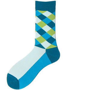 Retro Rhombus Men's Crew Socks Fashion Street