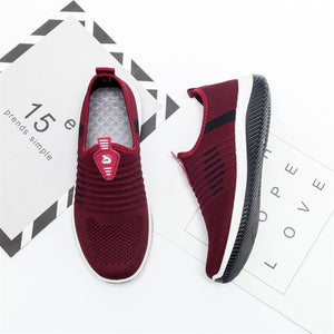 Women Flat Shoes Knit Woman Casual Slip On Vulcanized Shoes