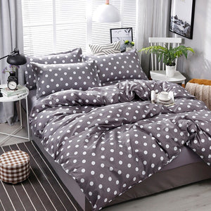 Dark Gray Dot Pattern Bedding Set Bed Linings Duvet Cover Bed Sheet