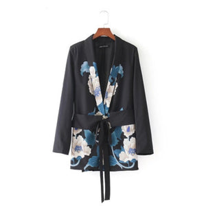 New Fashion Women Sashes Floral Blazer Notched Collar Long