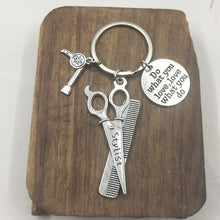 Load image into Gallery viewer, 1Pc Handcrafts Comb Scissors Hair Dryer Keychain Hairdressers