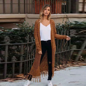 Casual Hollow Out Women Sweater Cardigan Solid Winter
