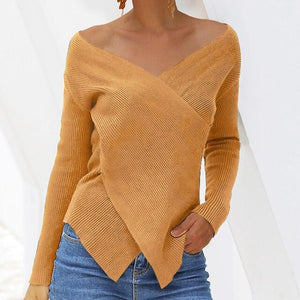 New Women Deep V-Neck Block  Sweater Knitwear